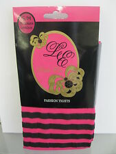 Ladies Leila Eve Black & Pink Striped Opaque Tights 55 Denier One Pair