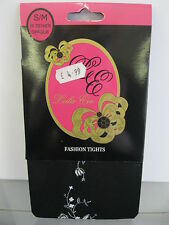 Ladies Leila Eve Black Opaque Tights with Floral Design Up Back 55 Denier 1 Pair