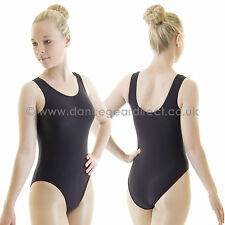 Ladies Plain Tank Sleeveless Dance Ballet Leotard Black Shiny Nylon Lycra Adults