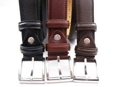MENS HIGH QUALITY LEATHER BONDED BELT BLACK,TAN,BROWN WITH SILVER BUCKLE