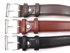 MENS QUALITY BONDED LEATHER BELT WITH SILVER BUCKLE IN 3 COLOURS CASUAL SMART