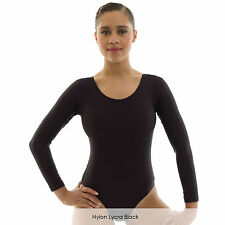 Ladies Long Sleeve Plain Ballet Dance Gymnastics Leotard Shiny Nylon Lycra Adult