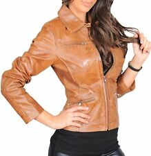 CLASSIC Style Designer Fitted COAT Womens Zip Up  Biker Leather Jacket Zoe Tan