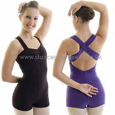 Ladies Sleeveless Dance Short Boy Cut Unitard Leotard Cotton Lycra Adults