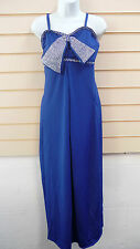 OLI BLUE PARTY DRESS OVER SIZED DIAMANTE BOW SZ 10,12,14,16 STOCK CLEARANCE
