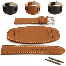 Men's Genuine Leather Watch Strap Band MONTE Wrist Pad SS.Buckle Spring Bars