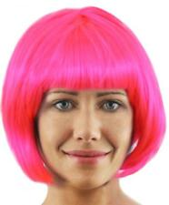 6 X SHORT HOT PINK GLOSSY BOB WIG WITH FRINGE COSPLAY FANCY DRESS LADIES WOMENS