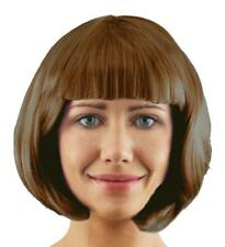 6 X SHORT BROWN GLOSSY BOB WIG WITH FRINGE COSPLAY 1920'S FLAPPER FANCY DRESS