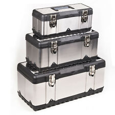 STAINLESS STEEL PLASTIC TOOL BOX SET CHEST DIY HOME TOOLBOX CASE STORAGE BOXES