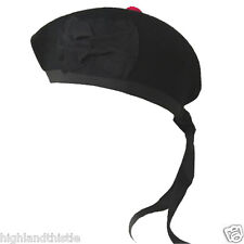 Highlandthistle Kilt Hat Black Scottish Glengarry Plain Scottish Wear