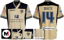 *13 / 14 - MACRON ; LEEDS UTD AWAY SHIRT SS + ARM PATCHES / WHITE 14 = SIZE*