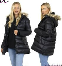 NEW WOMENS Ladies Plus Size Quilted Hooded Parka Winter Jacket Coat SIZE 18-26