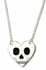 Skull Heart Necklace - Love You To Death - Black and White - Love, Goth, Emo