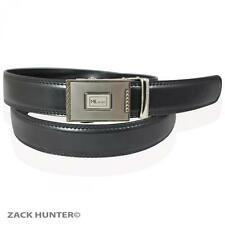 MENS REAL LEATHER BLACK BELTS BY MILANO WITH SILVER AUTOMATIC SQUARE BUCKLE BELT