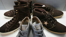 CONVERSE ALLSTAR HI TOP BOOT SHOE BROWN GREY LEATHER TEXTILE WOMEN GIRL UK 4.5-8