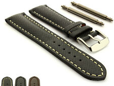 Taiga Cross Pattern Genuine Leather Mens Padded Watch Strap Band Vega SS Buckle
