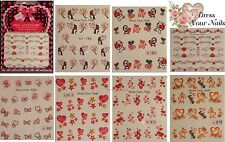 HEART Nail Stickers Water Decals Nail Art Transfers DIY -  VALENTINE Love - #4