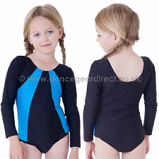 Girls Roch Valley Gymnastics Dance Leotard Long Sleeve Nylon Lycra Childrens