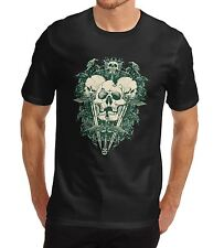 Mens Green Devil Skull Print Graphic T-Shirt Black X Large