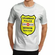 Twisted Envy Men's Personalised Grammar Police Funny T-Shirt