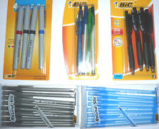 BIC PENS-GRIP ROLLER,GEL,BALLPOINT,ROUND STIC black,blue,red ink/refill school