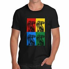 Mens Cotton Novelty Photo Design T Rex Colour Print T-Shirt Black Large