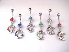 Moon & Star Dangle Belly Bars,Red, Blue, Pink, Clear, Green Bar Length 8mm,10mm