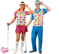 COUPLES GOLFER COSTUMES GOLFING FANCY DRESS PUB GOLF PARTY ADULT SPORT UNIFORM