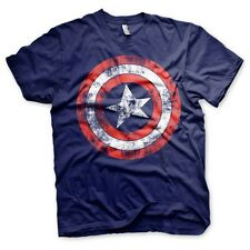 Official Marvel Men's Distressed Captain America Logo Navy T-Shirt - Retro Tee