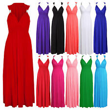 Ladies Womens Spring Coil Summer Maxi Full Length Stretchy Dress Size SM ML