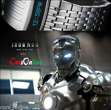 Orologio Luxury Iron Man Concept LED Bracciale Acciaio Future Innovation Watch