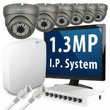 6 x 1.3 Megapixel Nightvision HD 960p 25fps Realtime IP Camera 8 CH P2P CCTV Kit