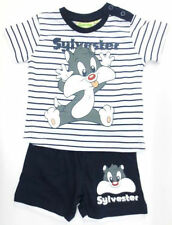 Infant Boys Looney Tunes Navy & White Sylvester Top and Shorts Set
