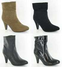 "Ladies Spot On Zip Up Ankle Boots with Pointed Toe & 3.5"" Heel Style F5678"
