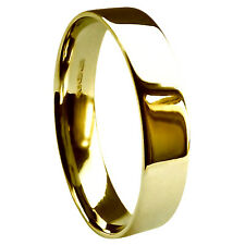 5mm 18ct Yellow Gold Flat Court Wedding Rings Comfort UK HM 750 Heavy Bands