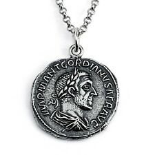 Sterling Silver REPLICA Gordian I Roman Coin Pendant Necklace #Azaggi N0432S