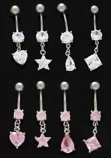GRADE 5 TITANIUM BAR - Small Crystal - Dangle Belly Bar - 6mm 8mm 10mm 12mm 14mm