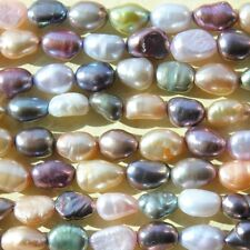 5-6MM Rice Oval Nugget Baroque Freshwater Pearls Beads green brown orange white