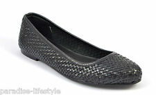 Womens Ladies Black Woven Leather Pumps Shoes Ballerina Loafers Dolly Toe Heel