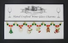 Gold-Enamel Christmas Themed Wine Glass Charms-Stocking Filler Secret Santa