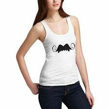 Womens Cotton Novelty Funny Gift Vampire Moustache Tank Top