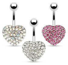 TITANIUM Large Crystal HEART Belly Bar-Pick Colour/Length:6mm 8mm 10mm 12mm 14mm