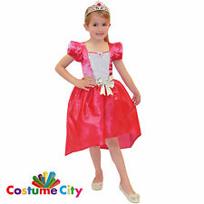 Childs Girls Official Pink Fairy Tale Princess Barbie Fancy Dress Party Costume