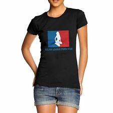 Women Cotton Novelty Funny Print Major League Porn Star T-Shirt