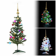 Artificial Indoor Christmas Tree With LED Lights + Baubles & Topper Decorations