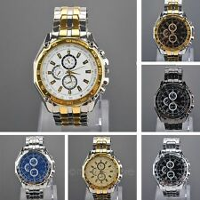 Ma acciaio banda Three Decorative Sub-Dials Quarzo Wrist Watch Orologi da polso