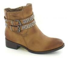 Ladies Spot On Light Brown Biker Style Ankle Boots Style F50182