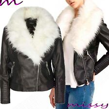 NEW Womens Faux Fur BIKER JACKET Crop FAUX LEATHER Ladies ZIP Size 8 10 12 14 16
