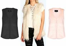 New Ladies Upside Down  Faux Fur Sleeveless Black Gilet Waistcoat Coat 8-16