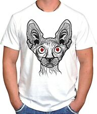 SPHINX CAT ILLUMINATI TUMBLR SWAG DOPE HIPSTER HYPE SKATE UNISEX  WHITE T-SHIRT